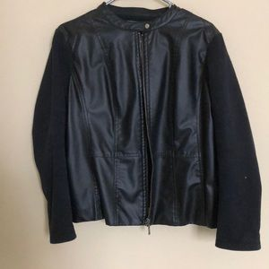 NY Collection Leather Jacket